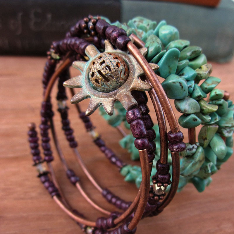 Beaded Adjustable Memory Wire Bangle Bracelet in Plum and Aqua Green: Cosmos - product images  of