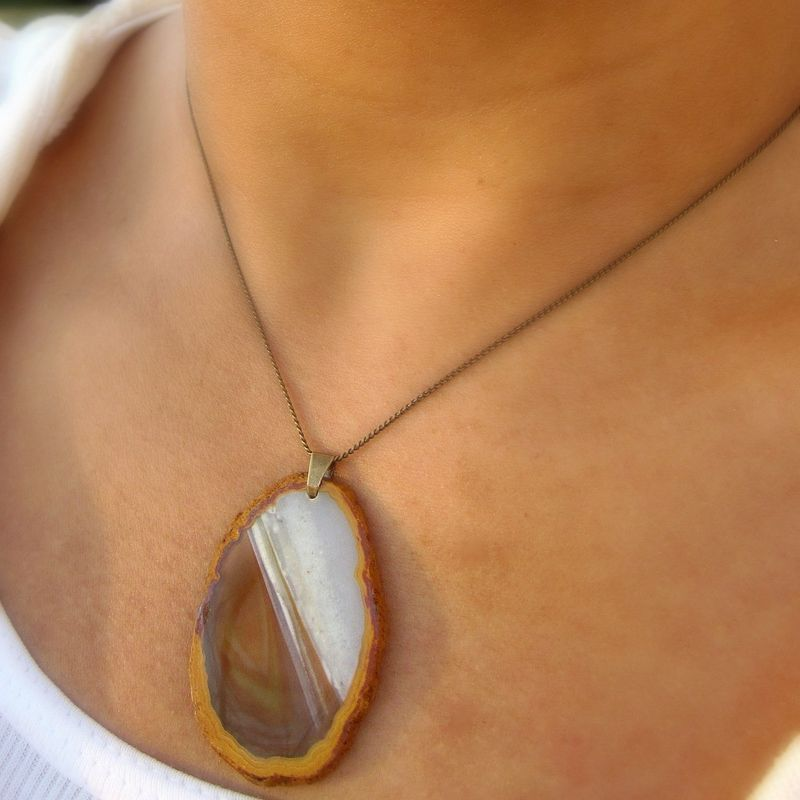 Necklace with Natural Yellow Agate Pendant on Chain: Molasses Cookie - product images  of