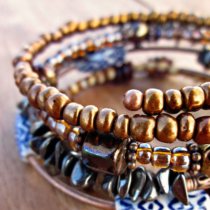 Beaded Adjustable Memory Wire Bangle Bracelet: Mixed Up - product images  of