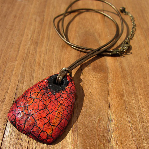 Red,Orange,Recycled,Paper,Mache,Unisex,Pendant,Necklace,on,Bronze,Leather,Cord:,Mars,Jewelry,long_cord_necklace,paper_mache_necklace,papier_mache_necklac,big_pendant_necklace,adjustable_necklace,rustic_necklace,recycled_jewelry,eco_friendly_jewelry,faux_stone_necklace,crackled_pendant,leather_cord_necklac,unisex_necklace,red_oran