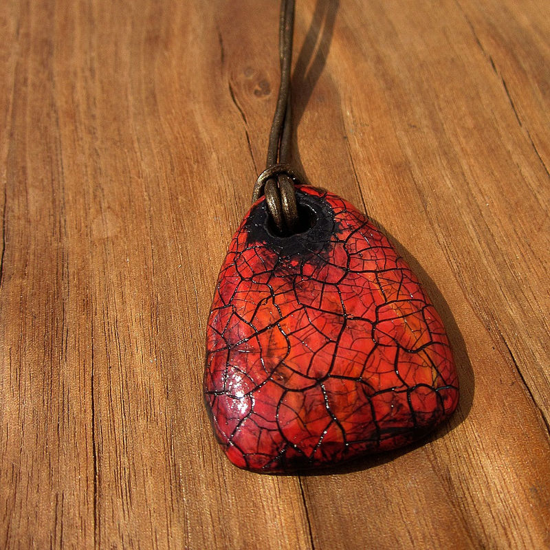 Red Orange Recycled Paper Mache Unisex Pendant Necklace on Bronze Leather Cord: Mars - product images  of