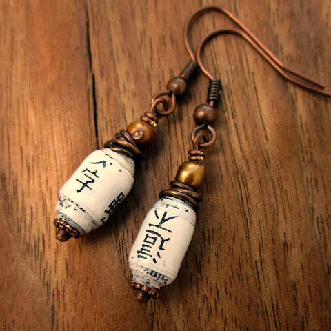 Dangle,Earrings:,Copper,and,Pearl,with,Handmade,Recycled,Paper,Beads,,Blossom,Jewelry,Earrings,recycled_jewelry,paper_bead_jewelry,eco_friendly_jewelry,salvaged_jewelry,paper_earrings,paper_jewelry,vintage_style_earrin,dangle_earrings,neutral_color_earrin,Earth_day_jewelry,copper_earrings,asian_characters,asian_style,recycle