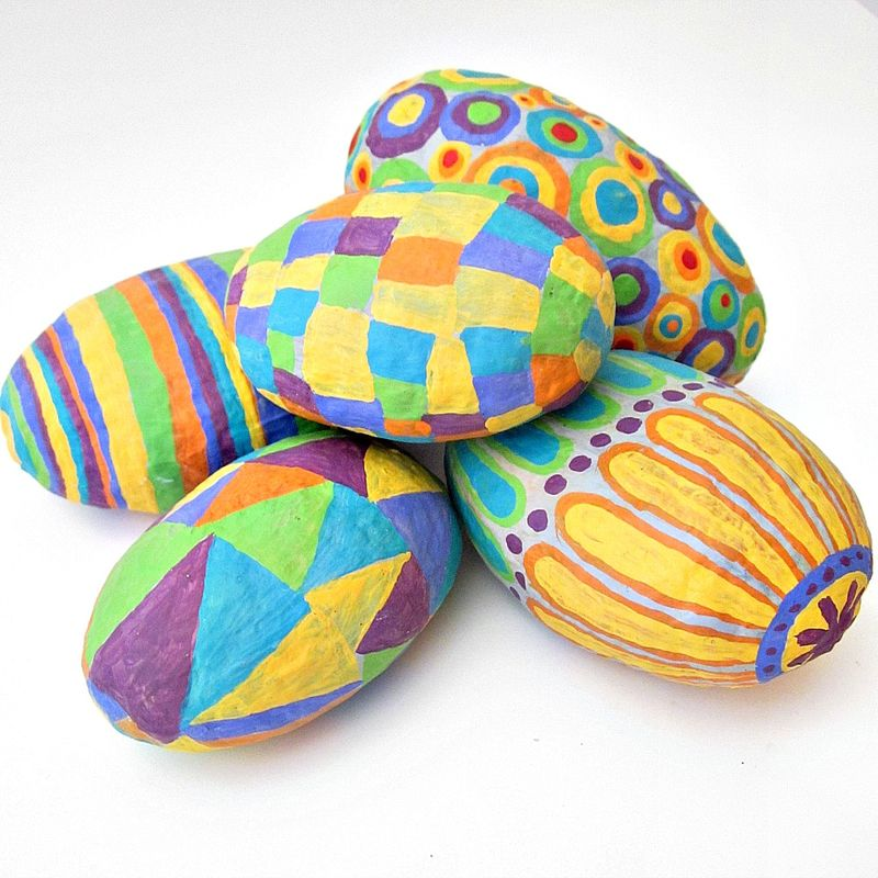 Paper Mache Stones, Set of Five Colorful Handsculpted Accent Stones - product images  of