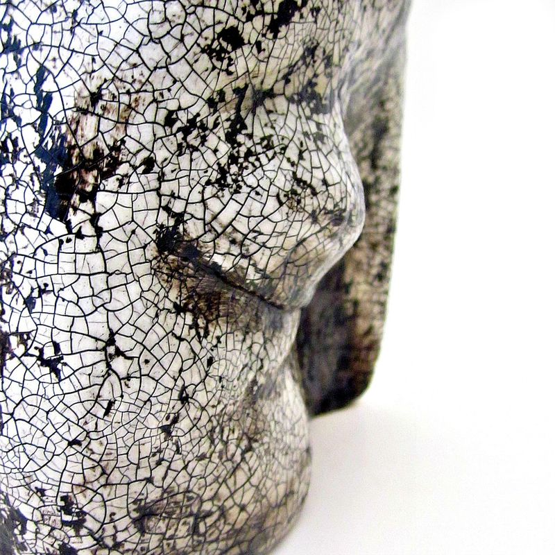 Closed Eye Paper Mache Sculpture, Crackled White Recycled Abstract Art: Ancient Infinite #003 - product images  of