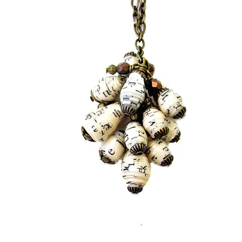Long,Chain,Necklace,with,Recycled,Paper,Bead,Cluster:,Cascade,long chain necklace with paper beads, adjustable chain necklace, recycled paper jewelry, paper bead jewelry, paper bead necklace, long necklace with paper bead pendant, black and white paper beads