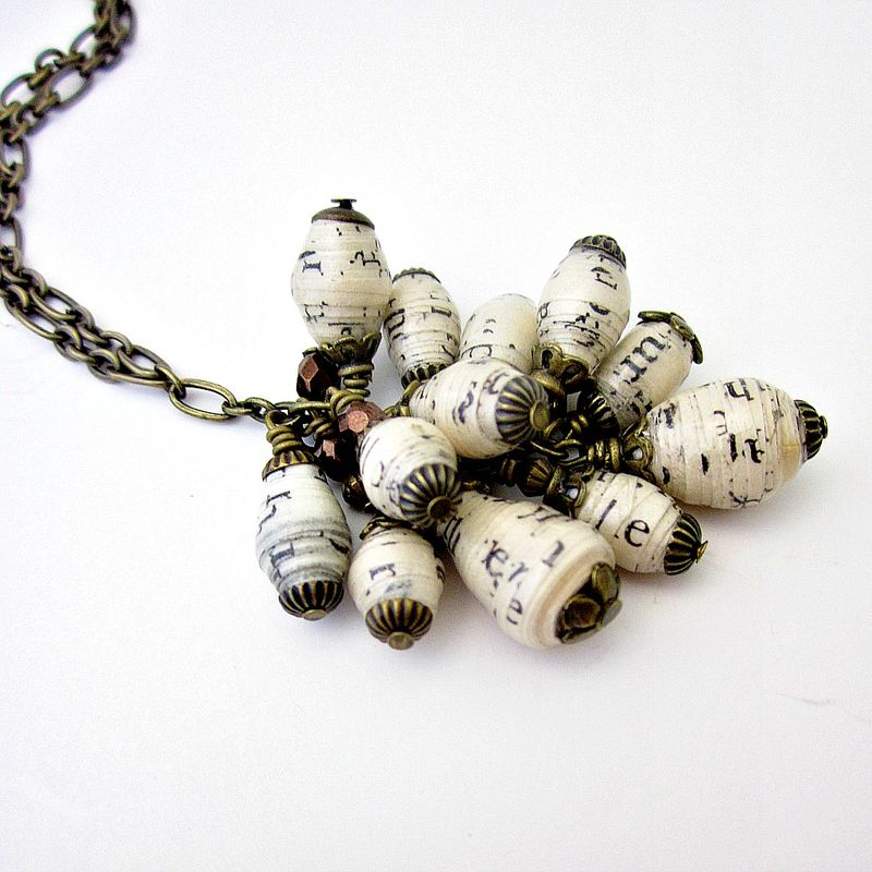 Long Chain Necklace with Recycled Paper Bead Cluster: Cascade - product images  of