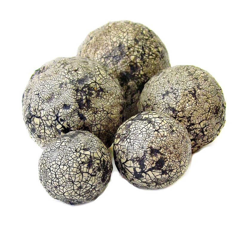 Decorative Accent Balls, Handsculpted Crackled Paper Mache Spheres in Light Beige MADE TO ORDER - product images  of