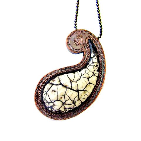 Long,Antique,White,Paper,Mache,Paisley,Pendant,Necklace,on,Ball,Chain:,Rapur,long cream paisley necklace, paper mache pendant necklace, white paper mache paisley, recycled paper pendant necklace, crackled white pendant necklace, handmade recycled jewelry, super long chain necklace, copper necklace
