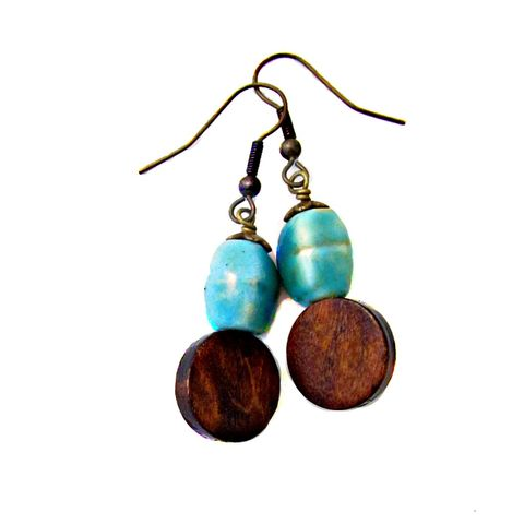 Dark,Wood,and,Green,Ceramic,Bead,Dangle,Earrings:,Penny,Candy,boho wood dangle earrings, brass dangle earrings, ceramic bead earrings, green and brown earrings, handmade dangle earrings, artist made earrings, bohemian chic dangle earrings, funky art earrings