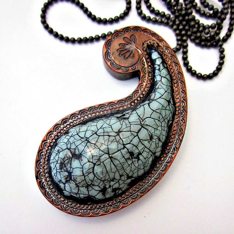 Long Green Gray Paper Mache Paisley Pendant Necklace on Ball Chain: Puja - product images  of