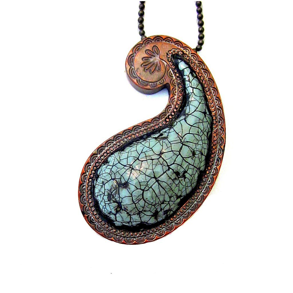 Long Green Gray Paper Mache Paisley Pendant Necklace On Ball Chain Puja Created By Renée
