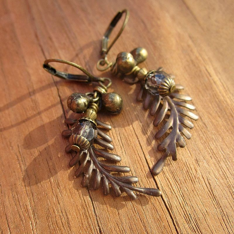 Beaded Rustic Brass Fern Dangle Earrings: Rainforest - product images  of
