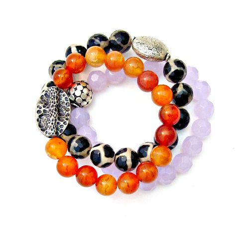 Carnelian,Agate,and,Glass,Beaded,Stretch,Bracelets,,Set,of,3,elastic beaded bracelet set, stretch bracelet set, beaded stone bracelets, carnelian beaded bracelet, agate beaded bracelet, lavender bracelet, black and cream bracelet, no clasp bracelet set, elegant stretch bracelet, gemstone bracelet, chunky bracelet