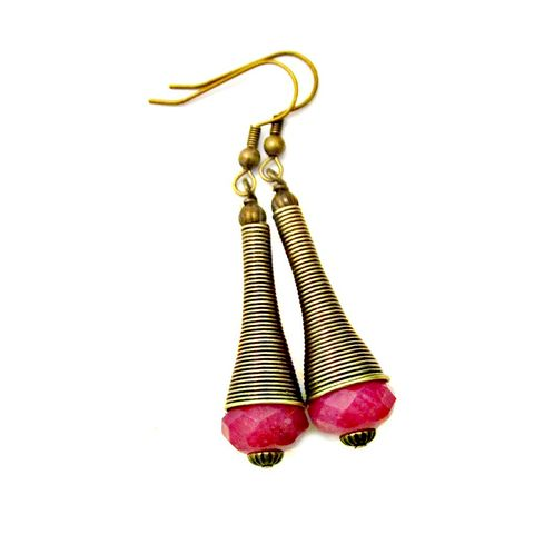 Long,Fuchsia,Glass,and,Rustic,Brass,Dangle,Earrings:,Zimbabwe,long brass dangle earrings, rustic brass handmade earrings, faceted bead earrings, dark pink glass dangle earrings, long ethnic dangle earrings, bohemian tribal inspired jewelry, handmade boho dangle earrings, pink and brass dangle earrings