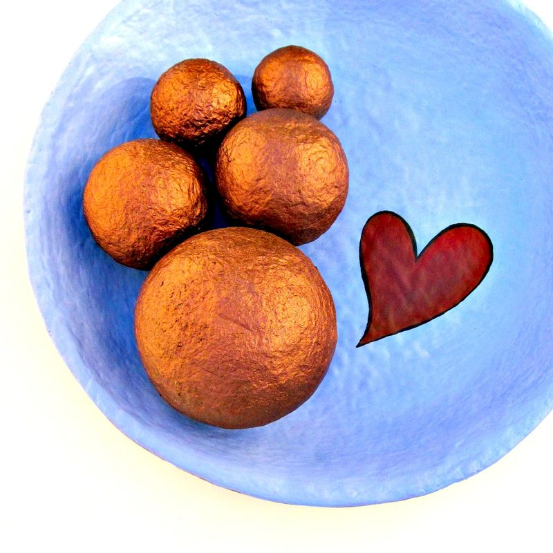 Copper Handmade Papier Mache Accent Balls, Set of Five Decorative Spheres in Assorted Sizes MADE TO ORDER - product images  of