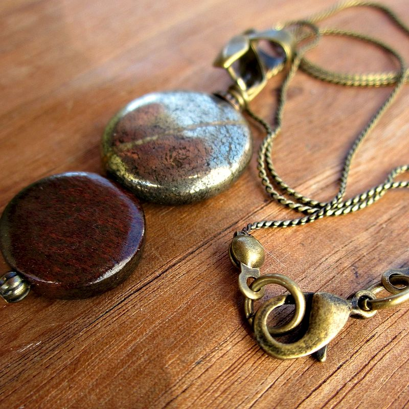 handmade jewelry seattle wood and pyrite pendant on rustic brass chain necklace 9697