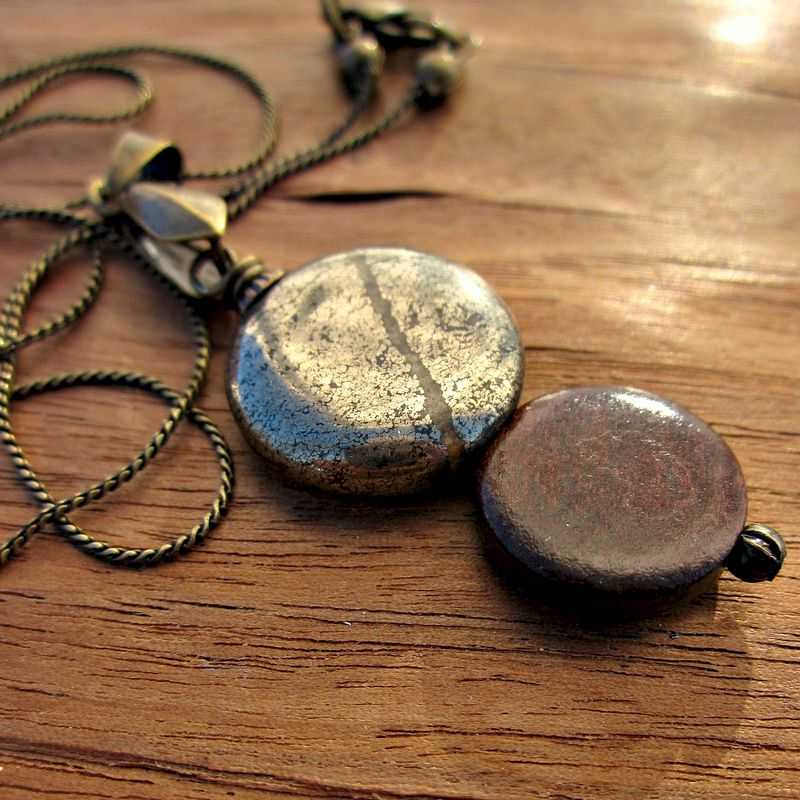 Wood and Pyrite Pendant on Rustic Brass Chain Necklace: Seattle - product images  of