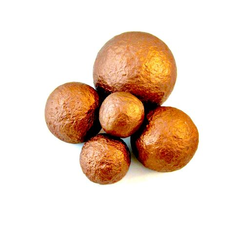 Copper,Handmade,Papier,Mache,Accent,Balls,,Set,of,Five,Decorative,Spheres,in,Assorted,Sizes,MADE,TO,ORDER,metallic copper paper mache accent balls, recycled home decor accents, decorative accent spheres, copper decorative balls, set of five accent balls, balls for centerpiece bowls, papier mache sculpture for sale, copper accent pieces, copper balls