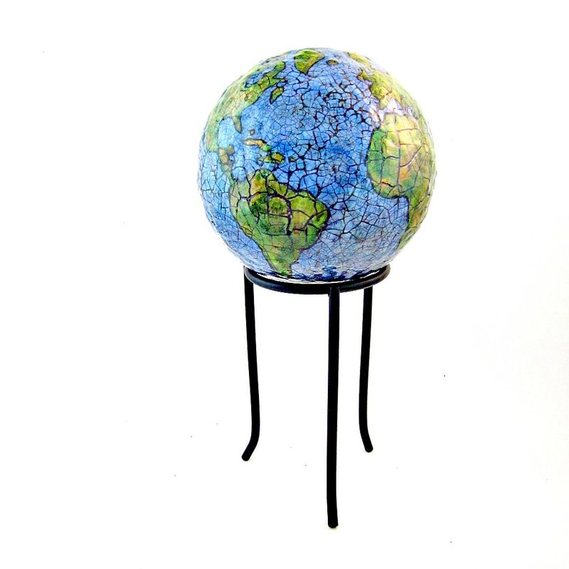 Abstract Papier Mache Globe Sculpture: Paper Earth - product images  of