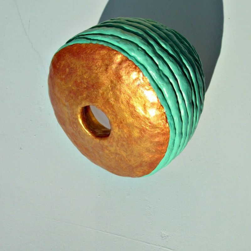 Handmade Green and Gold Miniature Paper Mache Wet Vase Recycled Decor: Santorini - product images  of