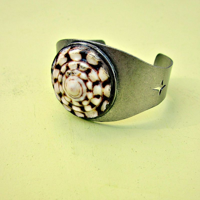 Adjustable Rustic Silver Cuff Bracelet with Rustic Natural Shell: San Juan - product images  of