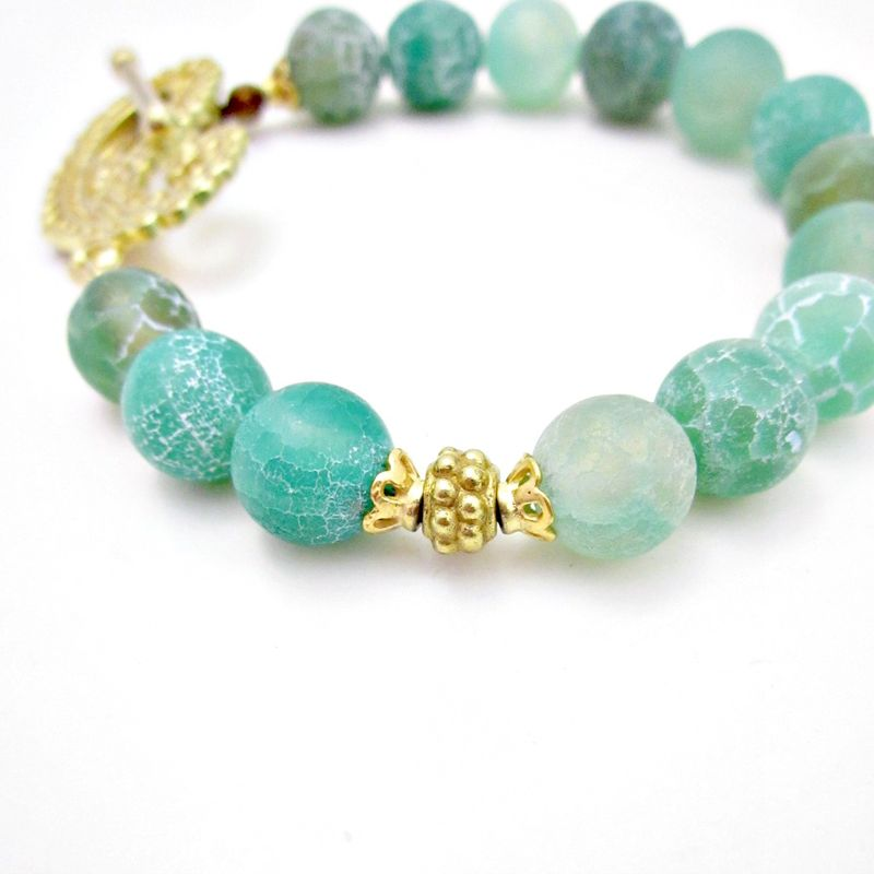 Blue Green Cracked Agate Beaded Bracelet with Gold Toggle Clasp: Goddess - product images  of