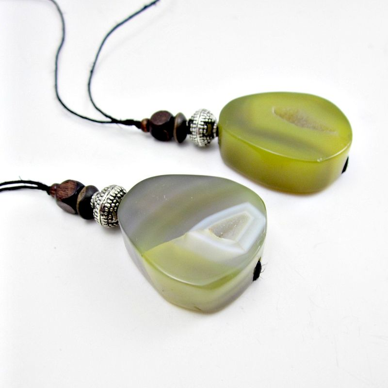 Olive or Gray Druzy Agate Pendant on Long Hemp Cord Necklace: Beatnik - product images  of
