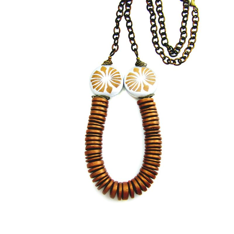 Adjustable Convertible Copper Wood Bead and Rustic Brass Chain Necklace: Hydraulic Sun - product images  of