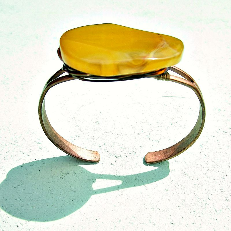 Adjustable Rustic Copper and Yellow Agate Wire Wrapped Cuff Bracelet: Catalina - product images  of