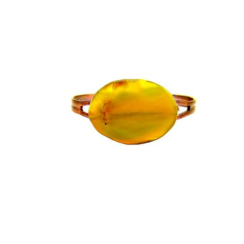 Adjustable,Rustic,Copper,and,Yellow,Agate,Wire,Wrapped,Cuff,Bracelet:,Catalina,adjustable cuff bracelet, handmade stone bracelet, unisex adjustable agate bracelet, rustic copper and agate adjustable cuff, copper bracelet, wire wrapped stone cuff bracelet, yellow agate jewelry, yellow agate bracelet