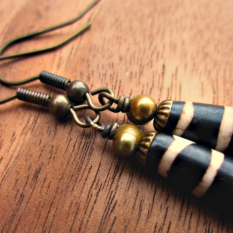 Long Bone Bead and Pearl on Rustic Brass Dangle Earrings: Anansi - product images  of