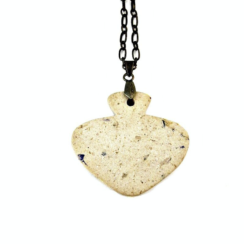 Long Adjustable Natural Jasper Stone Pendant Necklace: Spade - product images  of