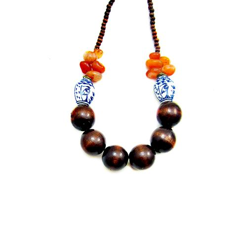 Adjustable,Wood,Ceramic,and,Agate,Beaded,Necklace:,Blue,Heron,wood beaded necklace, handmade wood necklace, wood stone ceramic necklace, dark wood adjustable beaded necklace, agate necklace, chunky wood bead necklace, brown orange blue necklace