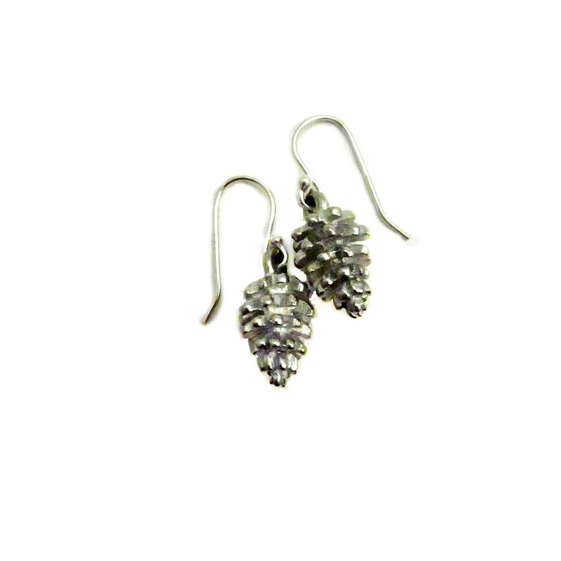 Sterling Silver Dangle Earrings with Pewter Pine Cones: Snowy Woods - product images  of