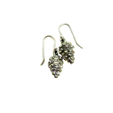Sterling,Silver,Dangle,Earrings,with,Pewter,Pine,Cones:,Snowy,Woods,pewter pine cone earrings, tiny pine cone dangle earrings, handmade silver pine cone earrings, sterling silver dangle earrings, pewter jewelry