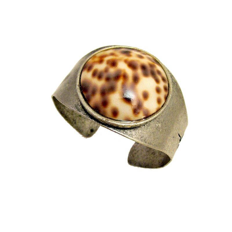 Rustic Silver Cuff Bracelet with Natural Shell: Ramsey - product images  of