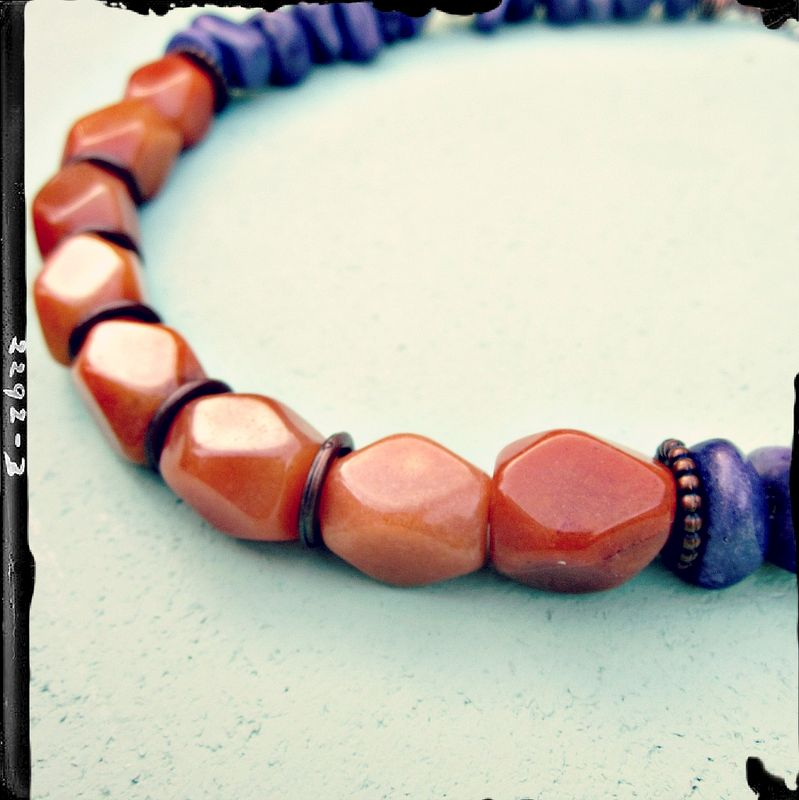 Adjustable Orange Aventurine and Purple Marble Chip Necklace: Carolina - product images  of