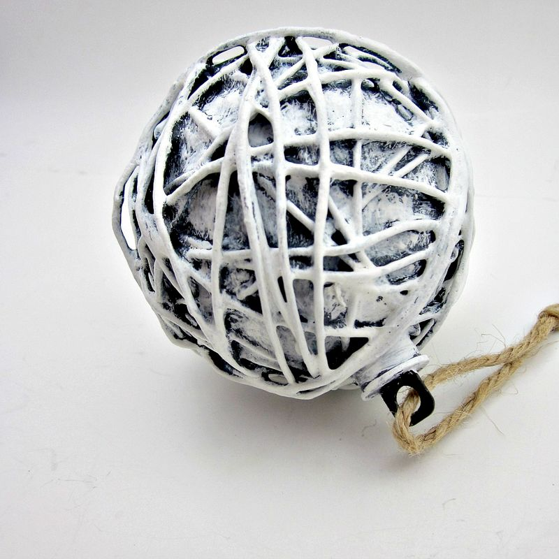 Handmade Rustic White and Gray Paper Mache Christmas Art Ornament: Snowdrift - product images  of