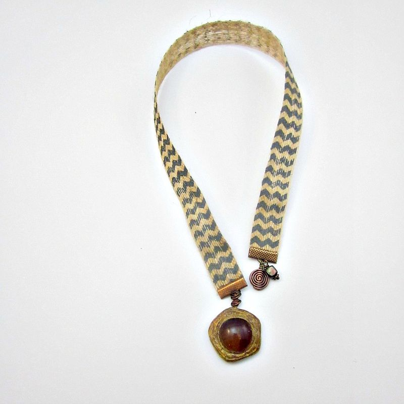 Beaded Natural Jute Chevron Ribbon Bookmark with Glass and Clay Accent: Epitome - product images  of