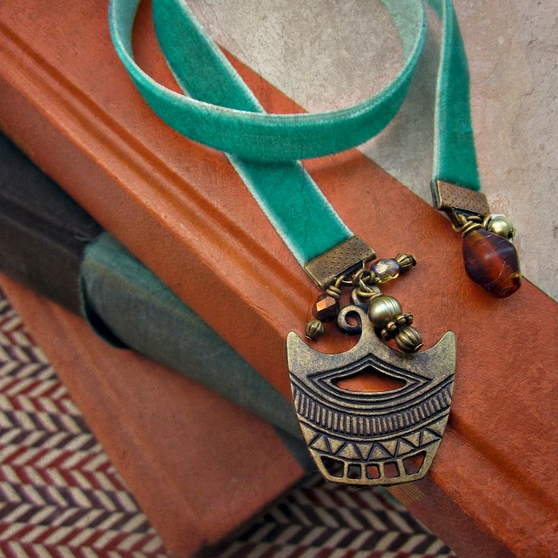Beaded Turquoise Velvet Ribbon Bookmark with Rustic Brass and Glass Accents: Crown Jewels - product images  of