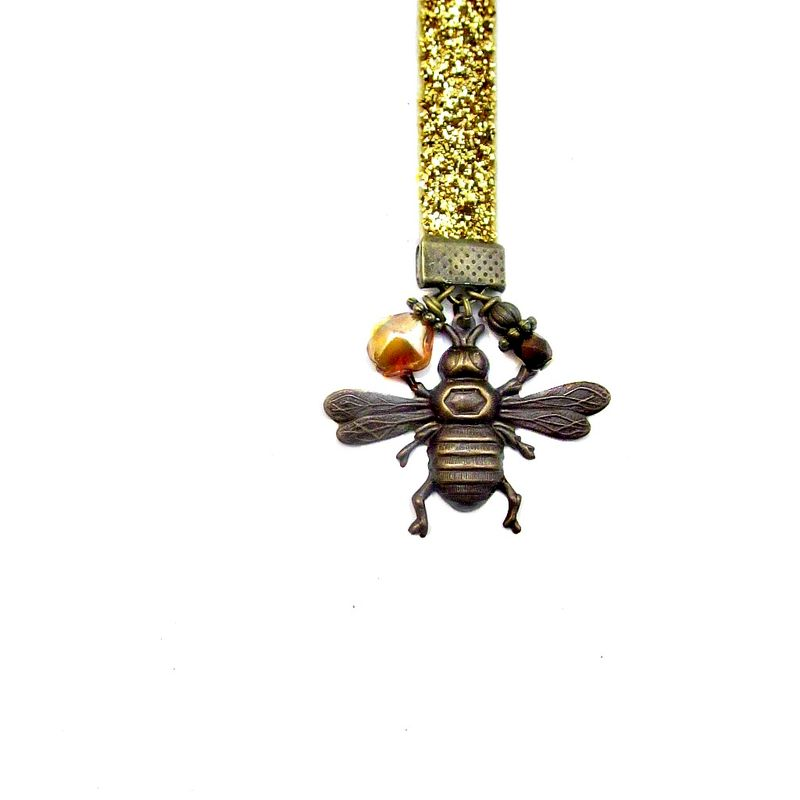 Beaded Gold Glittered Ribbon Bookmark with Brass and Glass Accents: Beekeeper - product images  of