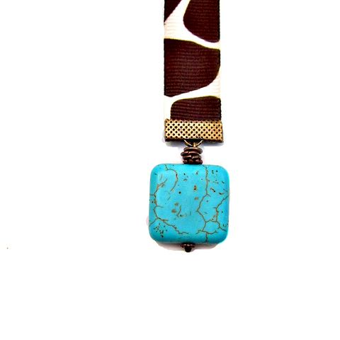 Beaded,Animal,Print,Ribbon,Bookmark,with,Rustic,Copper,and,Turquoise,Accents:,Wrangler,handmade ribbon bookmark, animal print ribbon bookmark, beaded ribbon bookmark, elegant pendant bookmark, turquoise beaded bookmark, elegant accessory gifts, teacher gifts