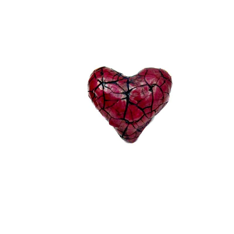 Handmade Crackled Paper Mache Heart Pin: Paper Heart - product images  of