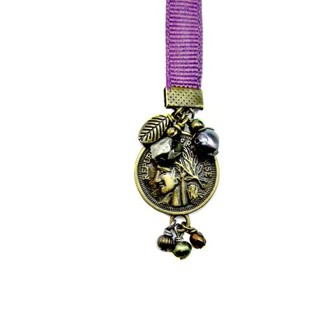 Beaded,Purple,Ribbon,Bookmark,with,Rustic,Brass,and,Bead,Accents:,Regent,handmade ribbon bookmark, handmade grosgrain bookmark, purple ribbon bookmark, handmade ribbon bookmark with charms, elegant beaded bookmark, french coin bookmark