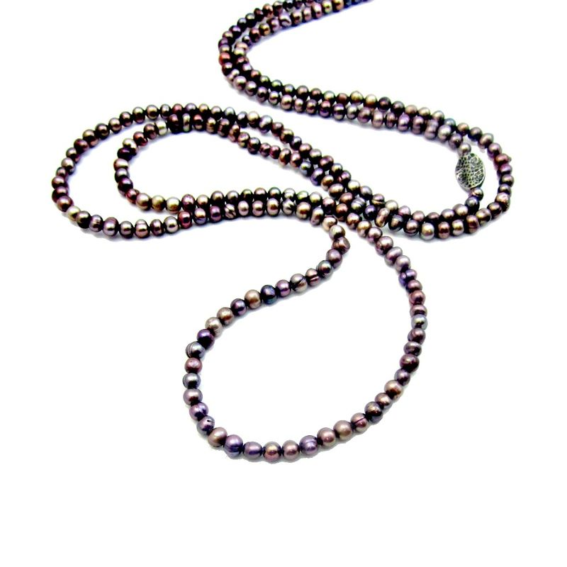 Long Light Purple Amethyst Natural Freshwater Pearl Beaded Necklace: Symphony - product images  of