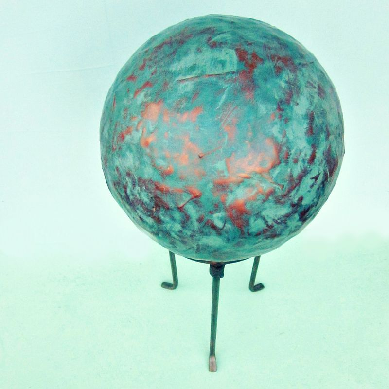 Big Distressed Faux Copper Gazing Ball on Metal Stand: Cog - product images  of