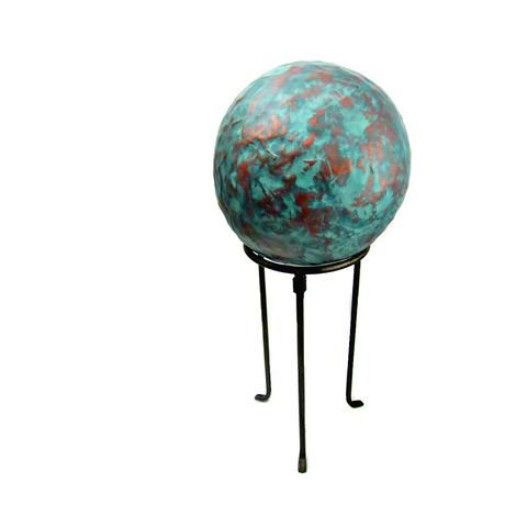 Big,Distressed,Faux,Copper,Gazing,Ball,on,Metal,Stand:,Cog,handmade paper mache ball, papier mache art, paper mache ball sculpture on metal stand, paper mache ball decor, recycled art, salvaged paper ball sculpture, decorative paper mache gazing ball