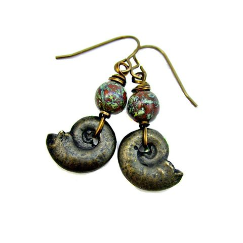 Czech,Glass,and,Bronze,Nautilus,Shell,Rustic,Brass,Dangle,Earrings:,Siren,handmade czech glass and bronze nautilus shell earrings, seashell earrings, rustic brass dangle earrings, wire wrapped glass earrings, red gray green brass earrings, ocean inspired earrings, ocean themed jewelry, hook dangle earrings