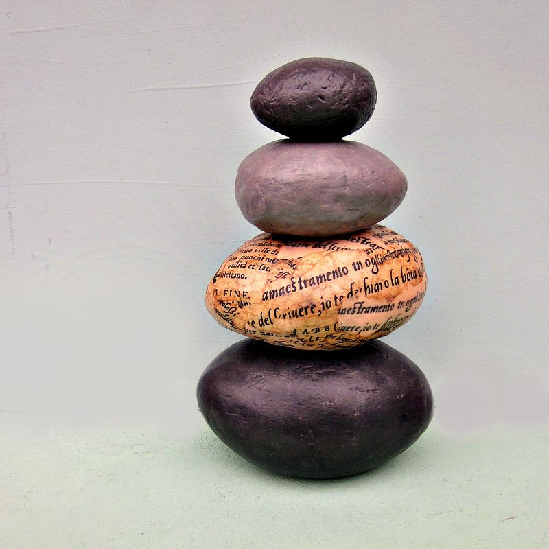 Faux Rock Stack Paper Mache Cairn Sculpture Decor: Wind  - product images  of