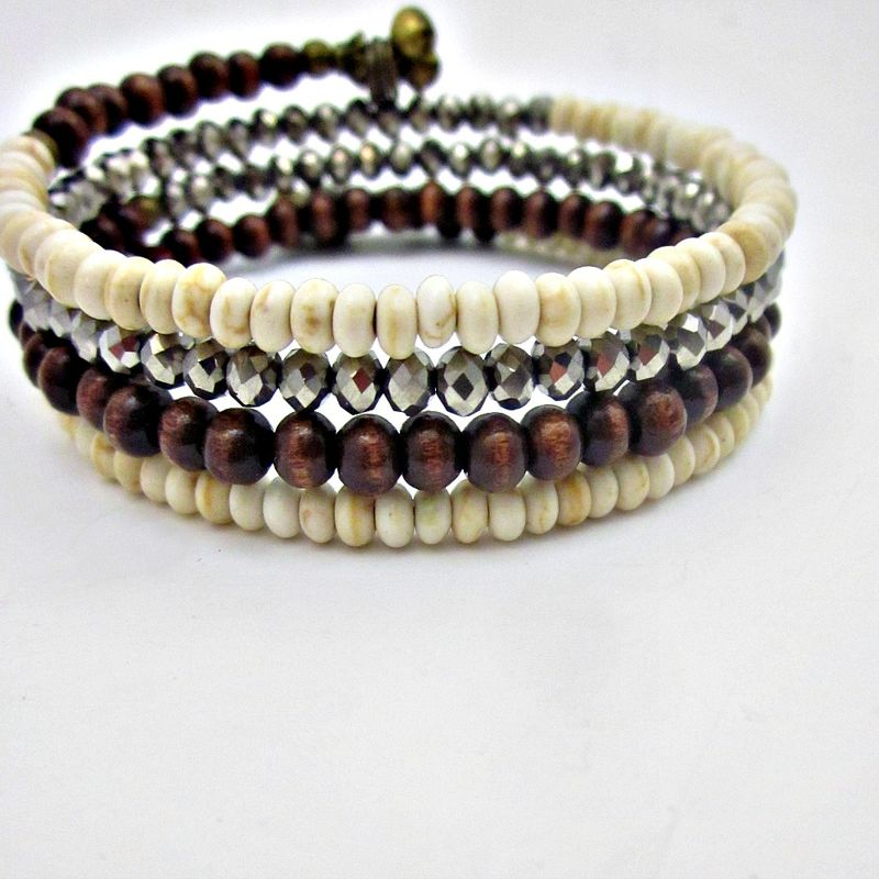 Wood Stone and Glass Beaded Wrap Bracelet with Rustic Brass Accents: Hilson - product images  of
